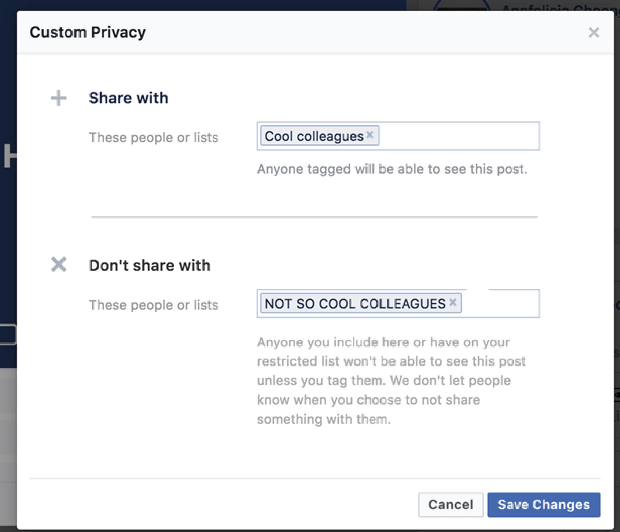 Custom list - Share and Don't Share